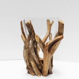 Vase en bois flotté + Verre L