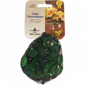 Filet 250g perles de verre crystal vert