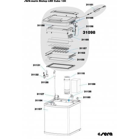 SERA marin Biotop LED Cube 130 : Cuve de rechange REF 31197
