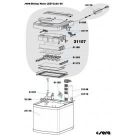 SERA tiges dappui droite et gauche avec charniere de fixation pour SERA BIOTOP NANO LED CUBE 60