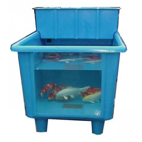 Polyester bac vitre bleu 100x150 cm grille inox for Bac a poisson inox