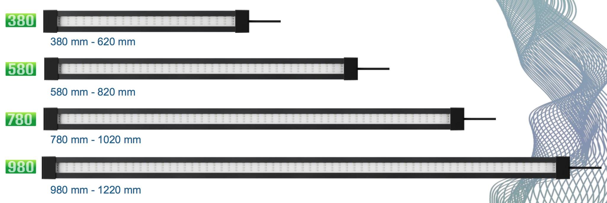 les 4 dimensions des rampes d'éclairage TETRA