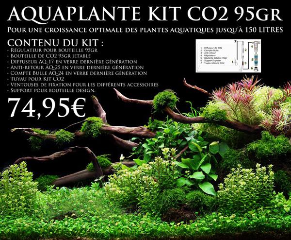 Kit CO2 95gr pour aquarium jusqu'à 150L. Avec accessoires en verre type aquascaping, pour une croissance optimale des plantes d'aquarium.
