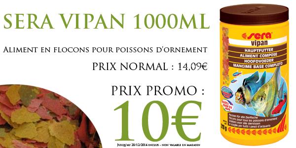 SERA VIPAN 1000ml - aliment pour poissons exotiques d'aquarium d'eau douce. En stock chez Aquaplante!